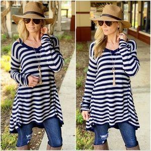 Navy striped sweater tunic